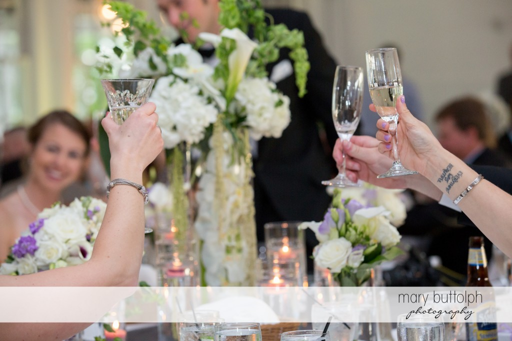 Tattooed bride and her guests toast to the good times at Emerson Park Pavilion Wedding