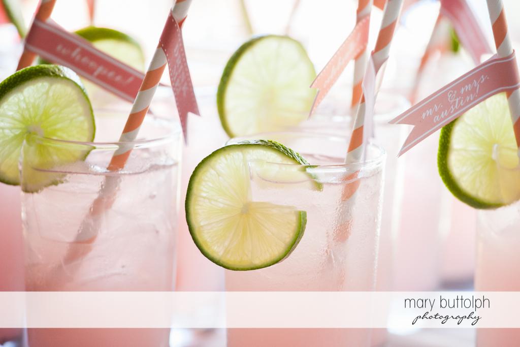 Glasses of pink lemonade for guests at Emerson Park Pavilion Wedding