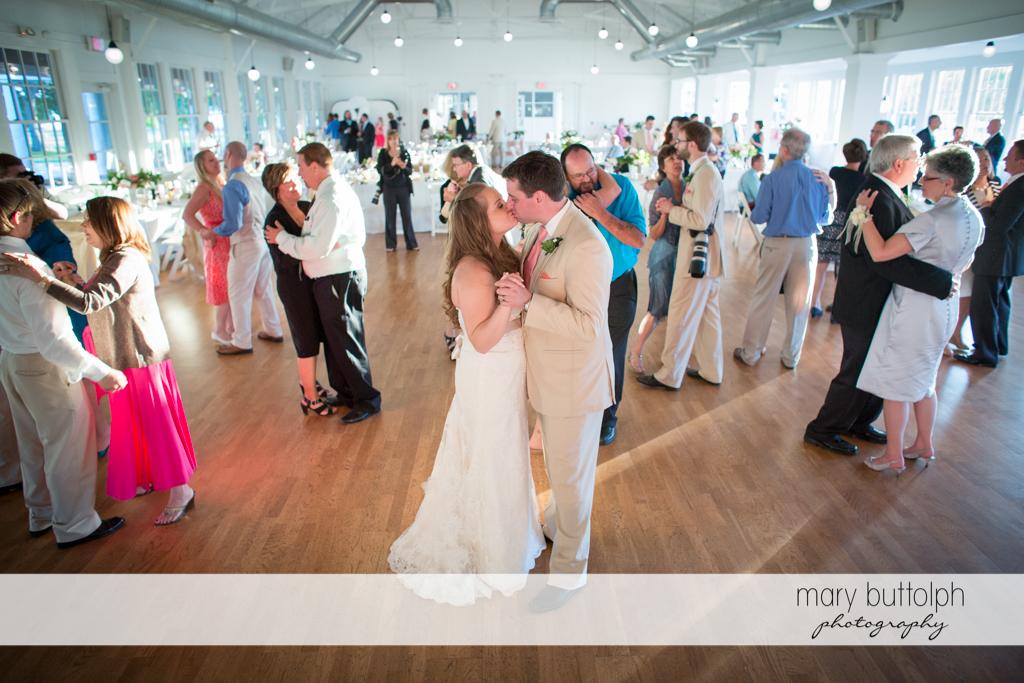 Couple get romantic on the dance floor at the wedding venue at Emerson Park Pavilion Wedding