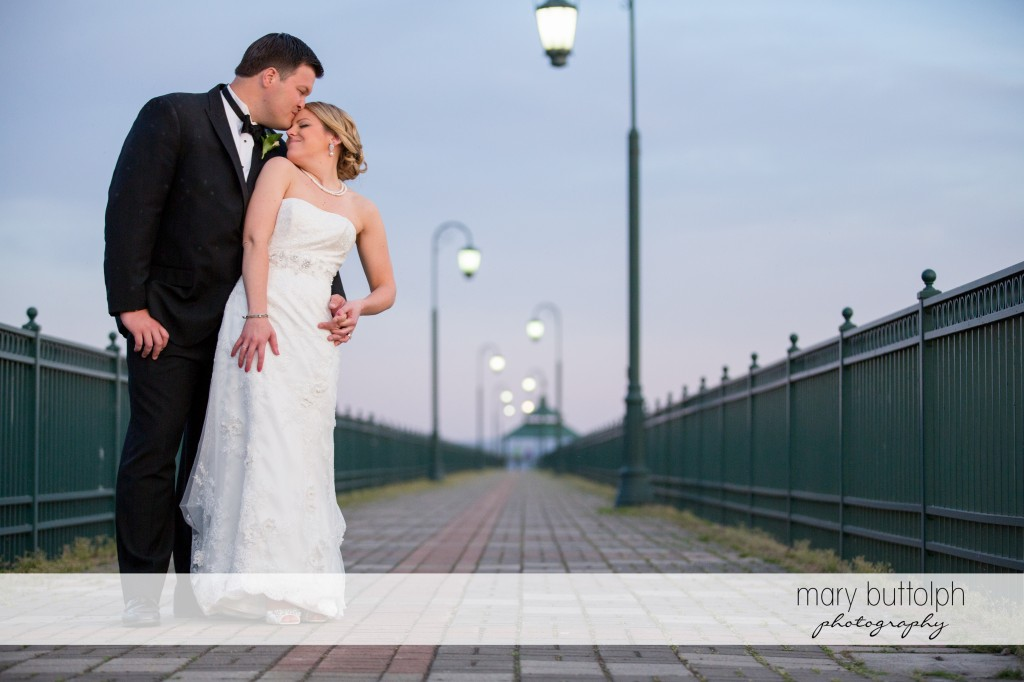 Couple pose for the camera at Emerson Park Pavilion Wedding