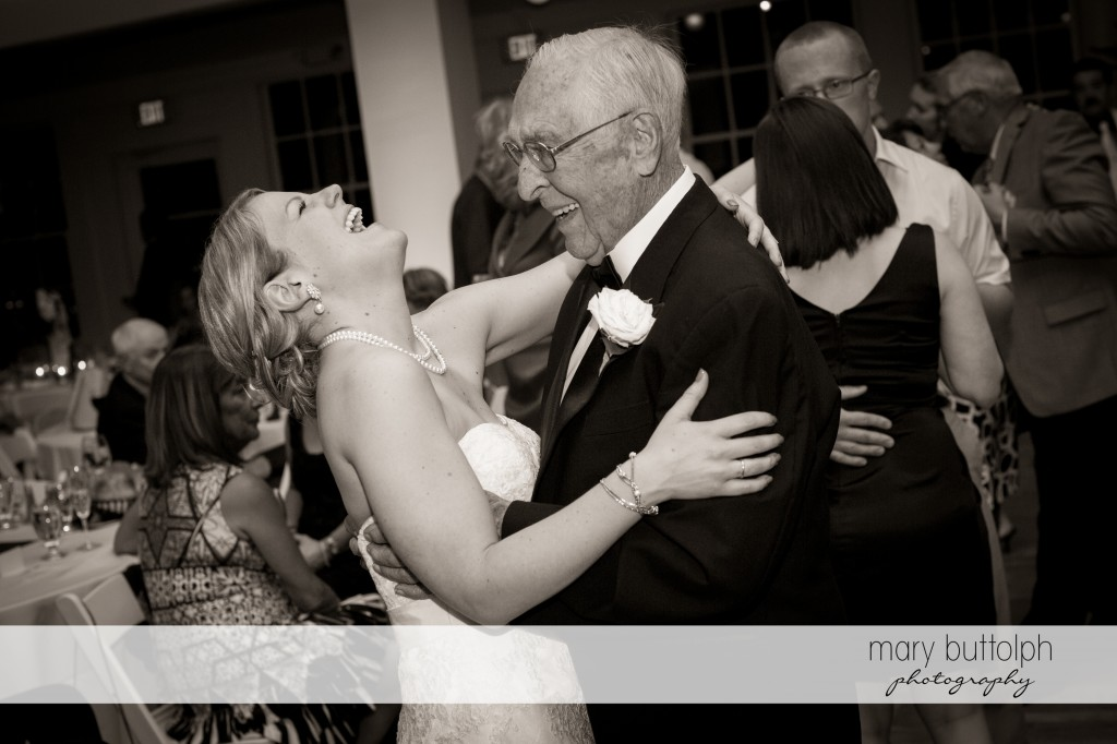 Bride and an elderly gentleman dance at Emerson Park Pavilion Wedding