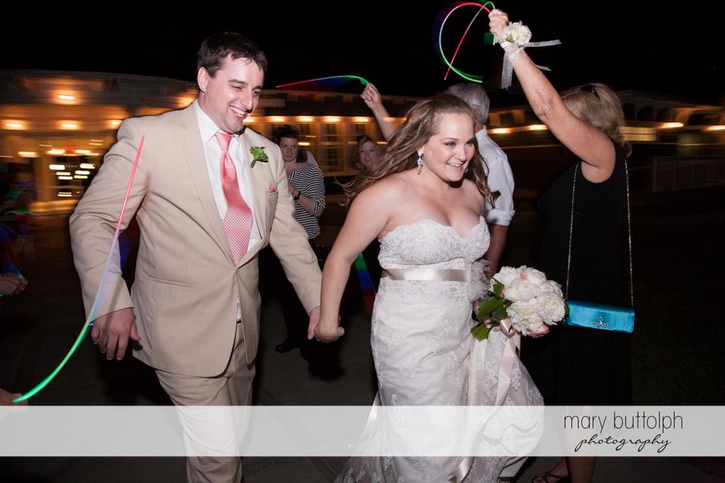 Couple leave the wedding venue at Emerson Park Pavilion Wedding