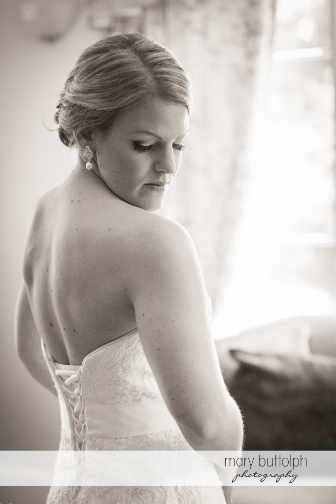 Dramatic black and white shot of bride at Emerson Park Pavilion Wedding