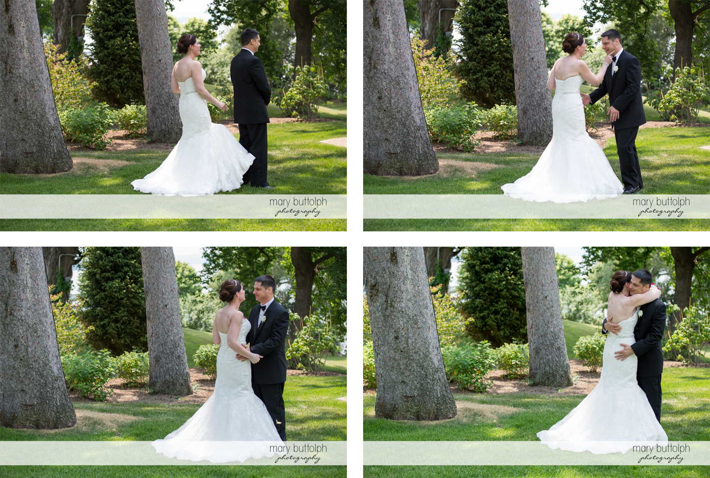 Different shots of the couple in the garden at the Inns of Aurora Wedding