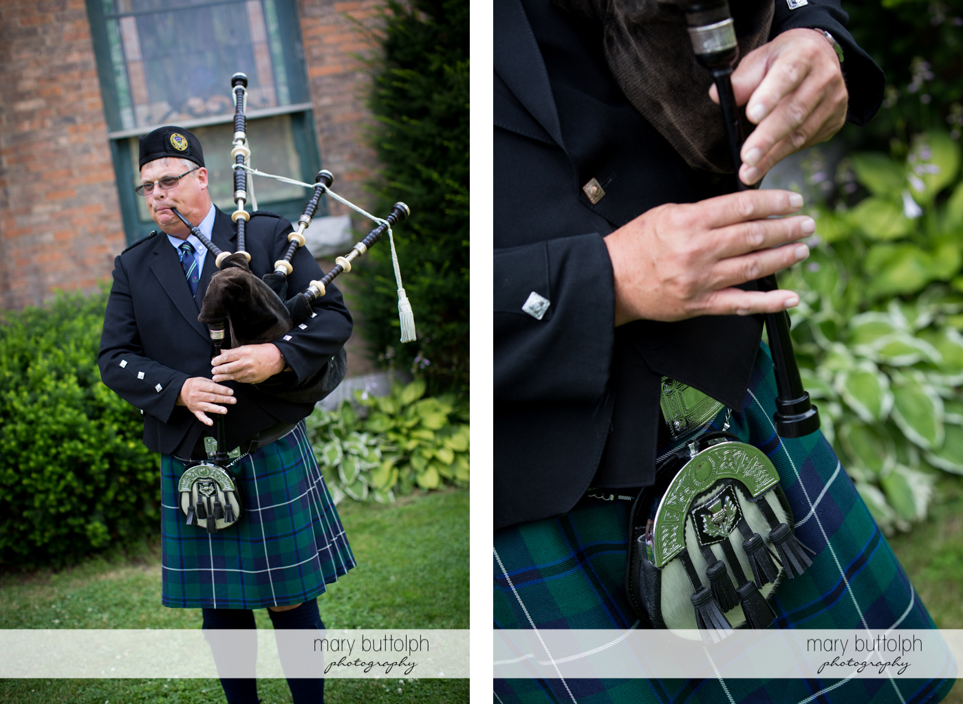 Two shots of the bagpipe player in the garden at the Inns of Aurora Wedding