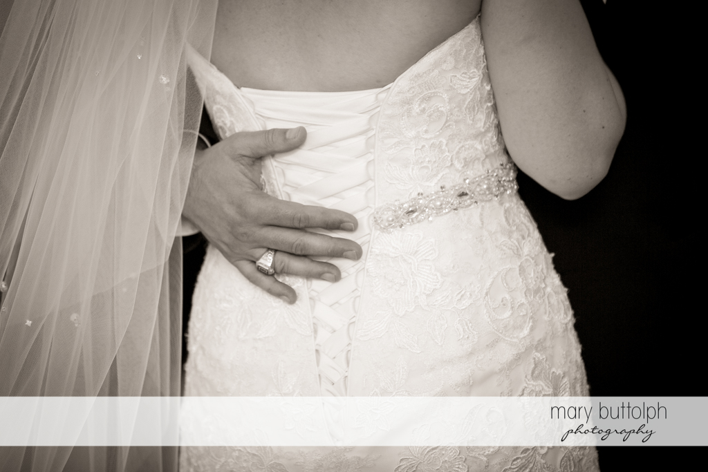 Back view of the bride and the groom's wedding ring at the Inns of Aurora Wedding