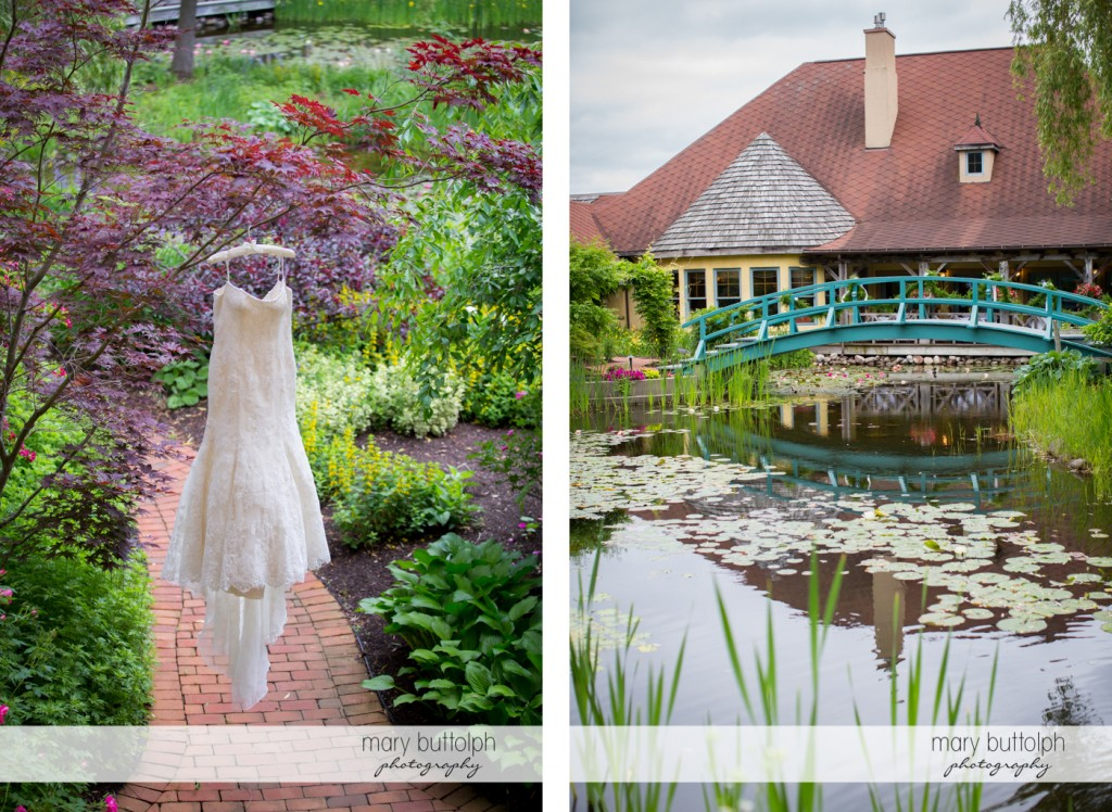 Bride's wedding dress hangs from a tree and a long shot of the wooden bridge at the Mirbeau Inn & Spa Wedding