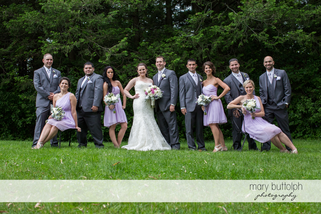 The wedding party in the garden at the Mirbeau Inn & Spa Wedding