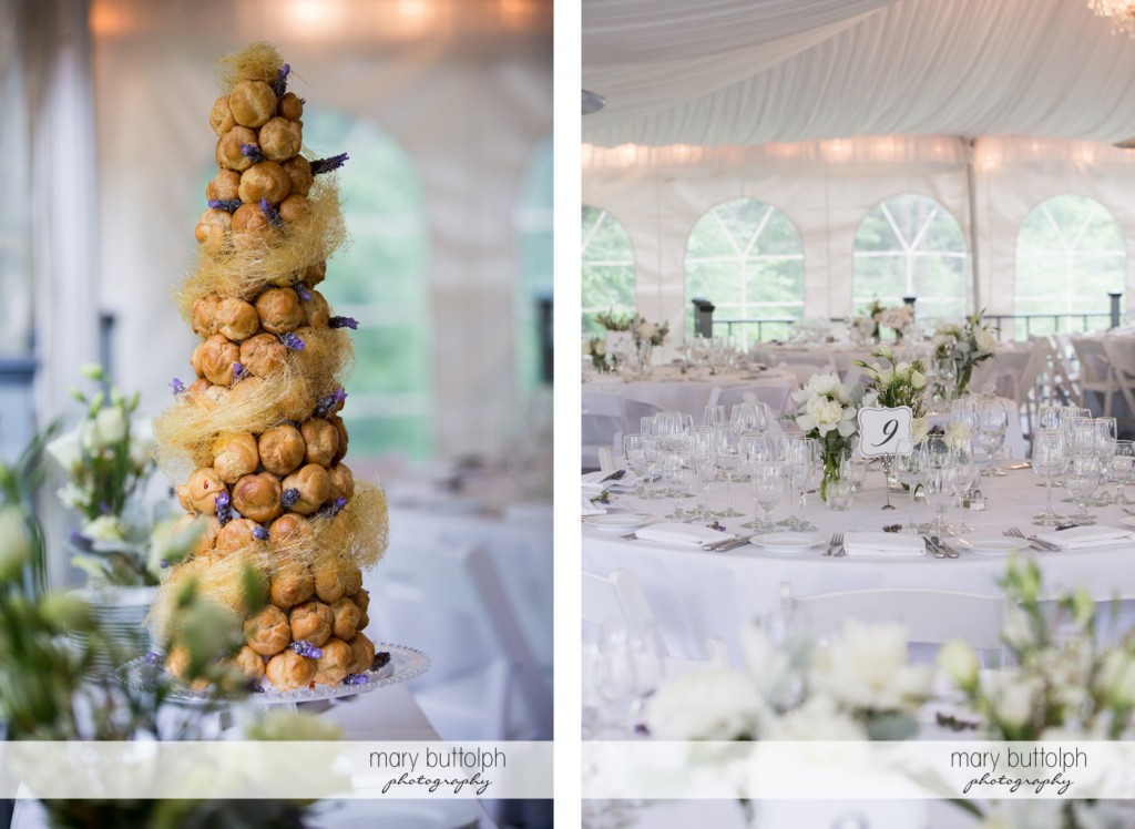 A tree made out of bread and a numbered table at the wedding venue at the Mirbeau Inn & Spa Wedding