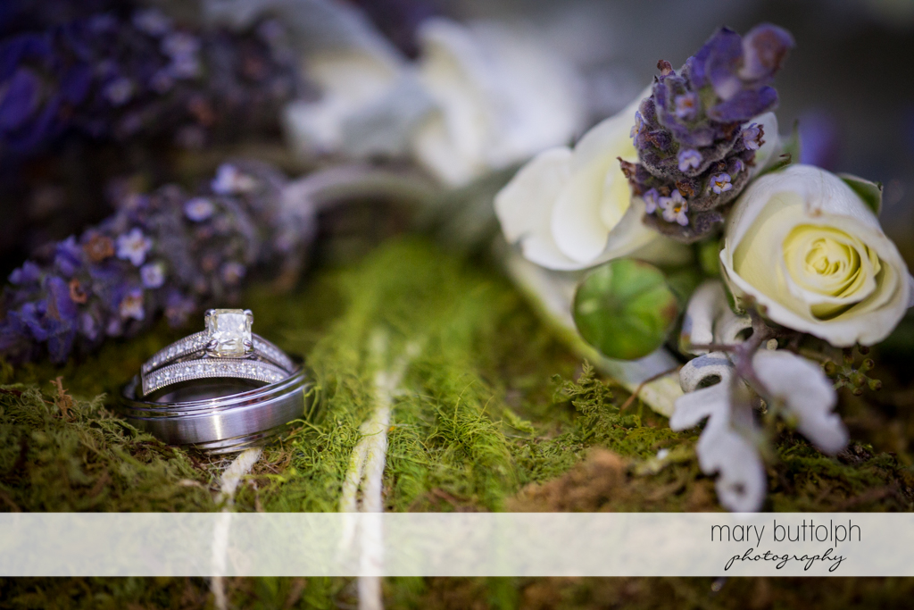 Couple's wedding rings in the garden at the Mirbeau Inn & Spa Wedding