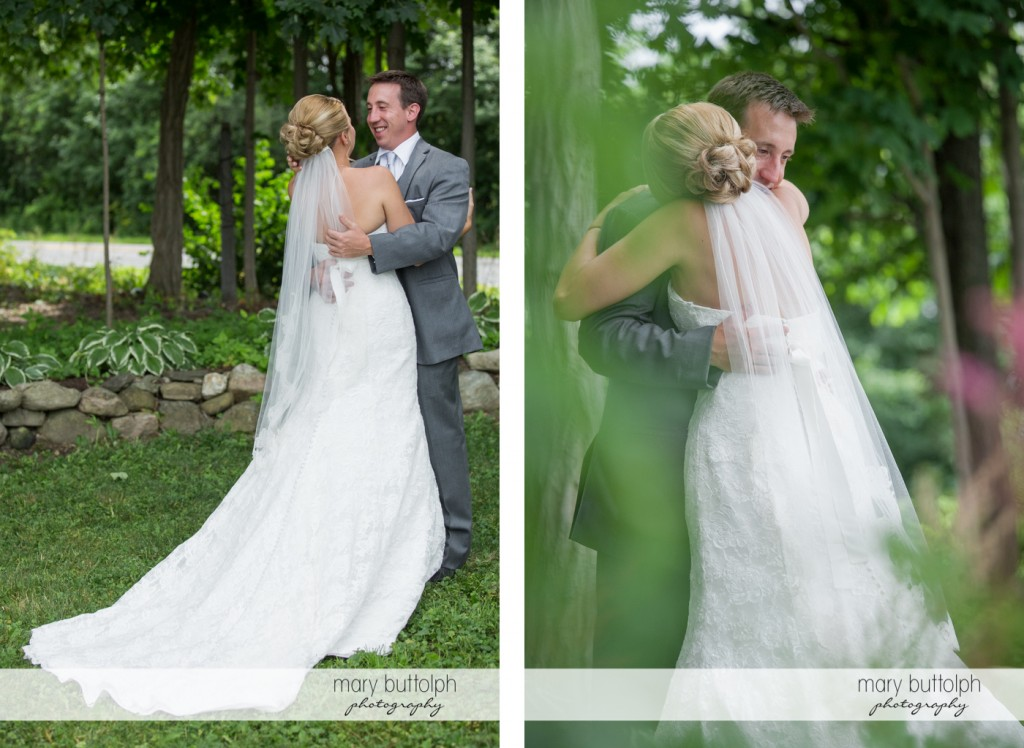 Different shots of the couple in the garden at the Sherwood Inn Wedding