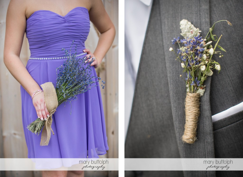 Bridesmaid with lavenders and a lavender boutonniere at the Sherwood Inn Wedding