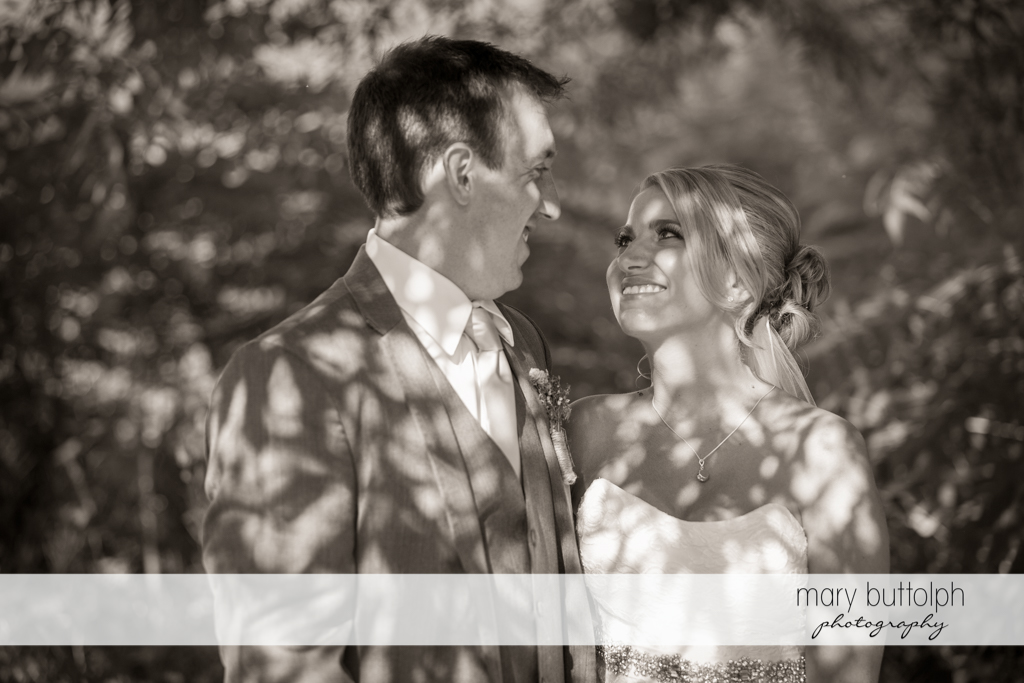Dramatic black and white shot of the happy couple at the Sherwood Inn Wedding