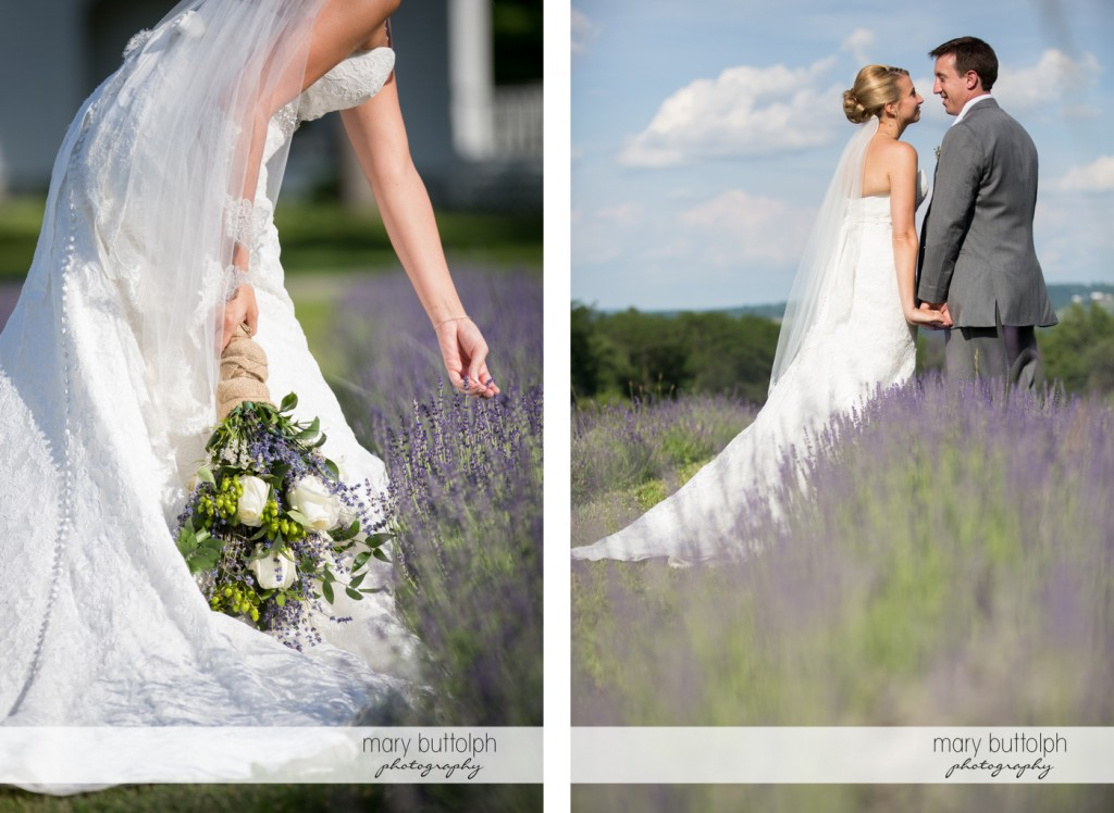 Bride picks some lavenders before joining the groom at the Sherwood Inn Wedding