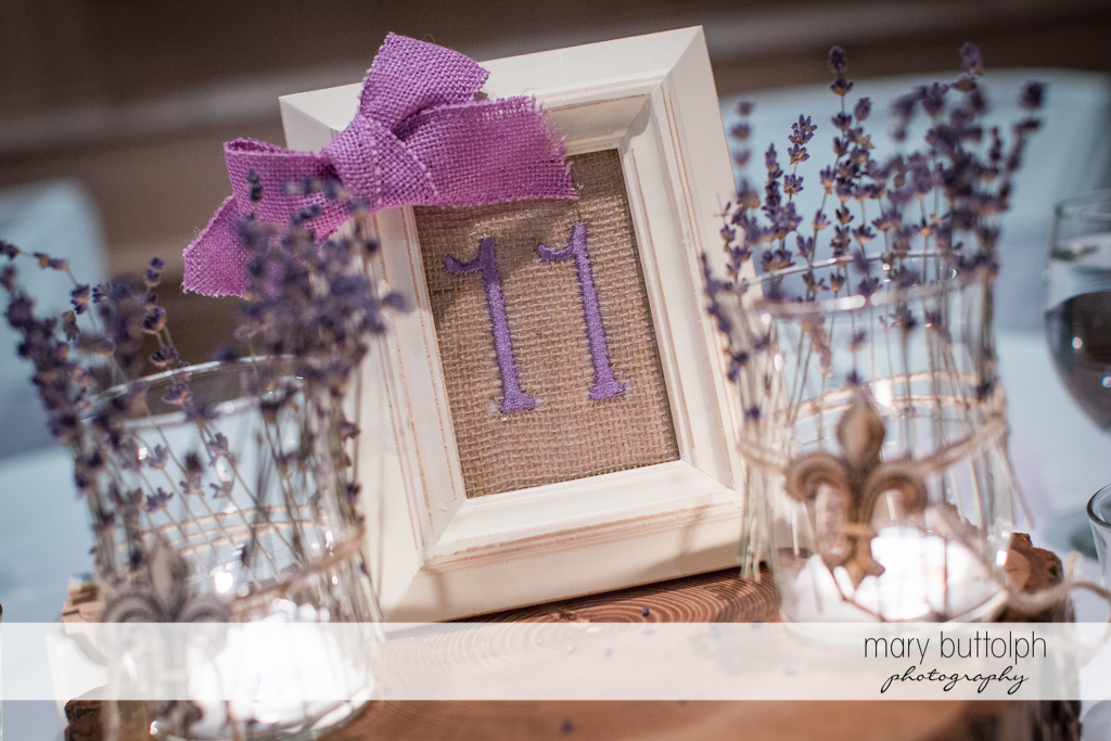 Lavender-inspired table number and ribbon at the wedding venue at the Sherwood Inn Wedding