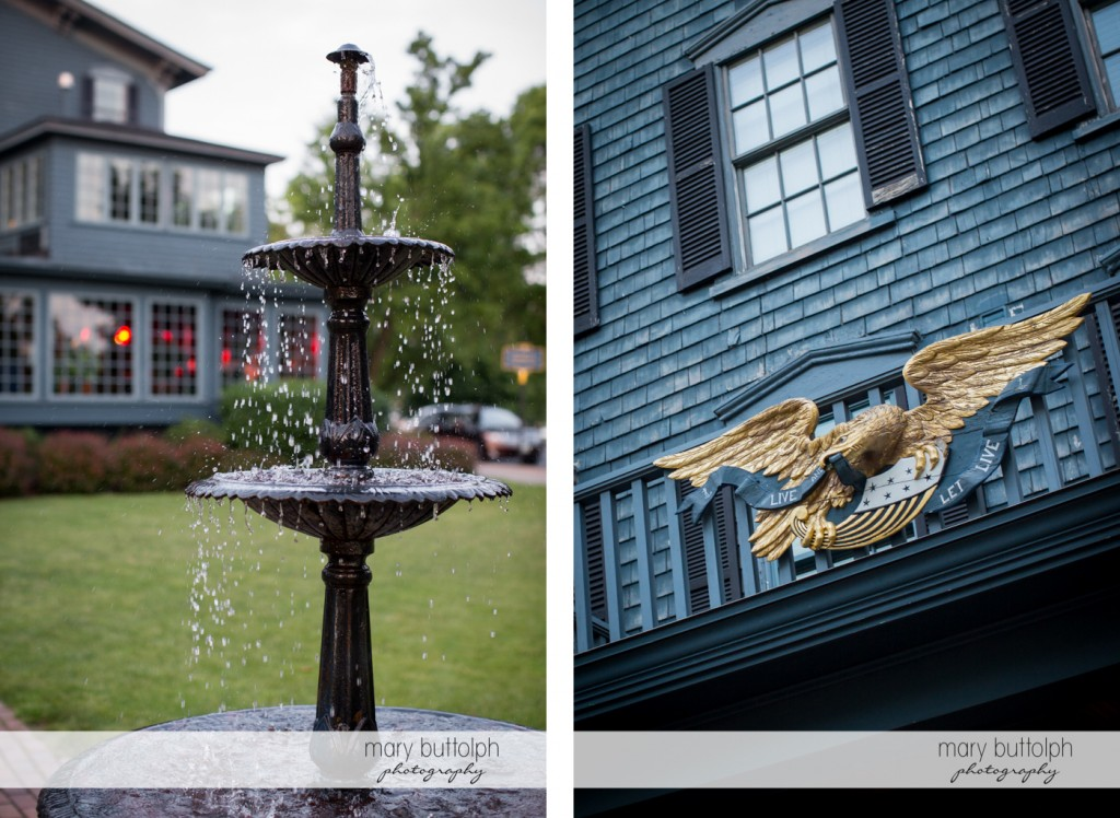 Close up shot of the fountain and the inn's facade at the Sherwood Inn Wedding