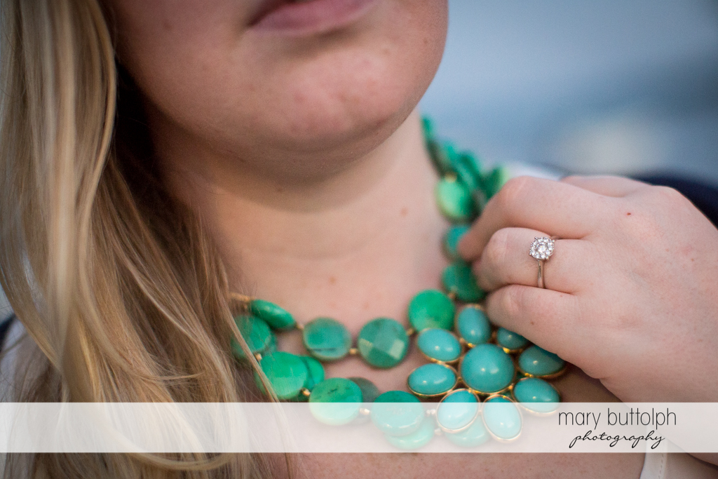 Close up shot of woman's beautiful necklace at Skaneateles Engagement