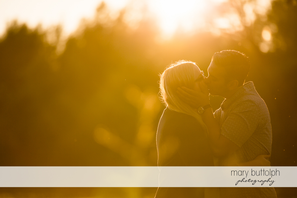 Couple catch the last rays of the sun in the garden at Skaneateles Engagement