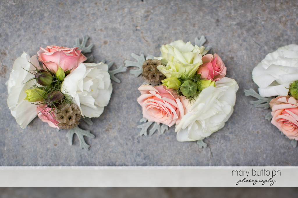 Corsages for the bridesmaids at the Inns of Aurora Wedding