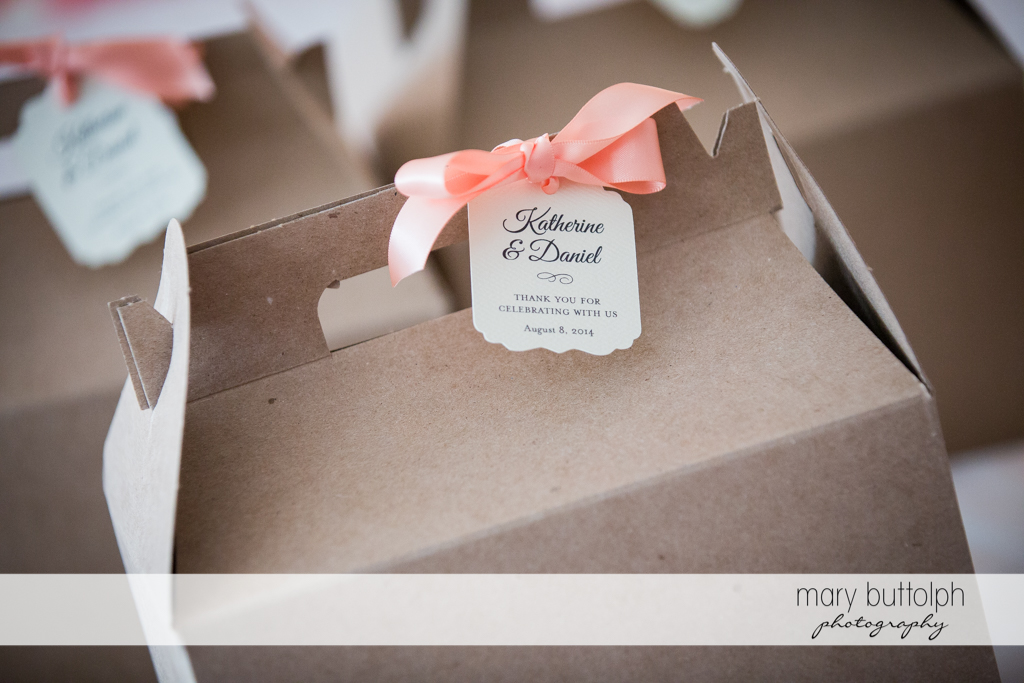 Giveaways for guests at the Inns of Aurora Wedding