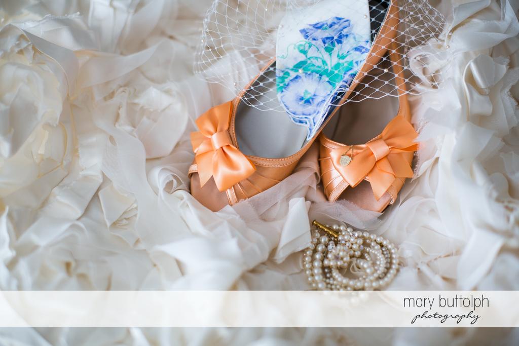Bride's wedding shoes at the Inns of Aurora Wedding