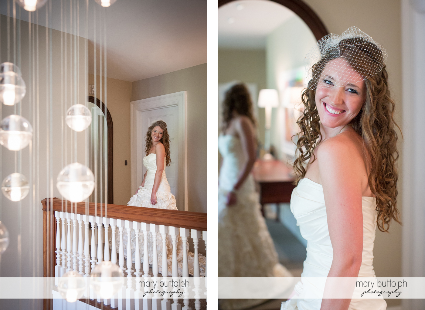 Bride poses in front of the mirror at the Inns of Aurora Wedding