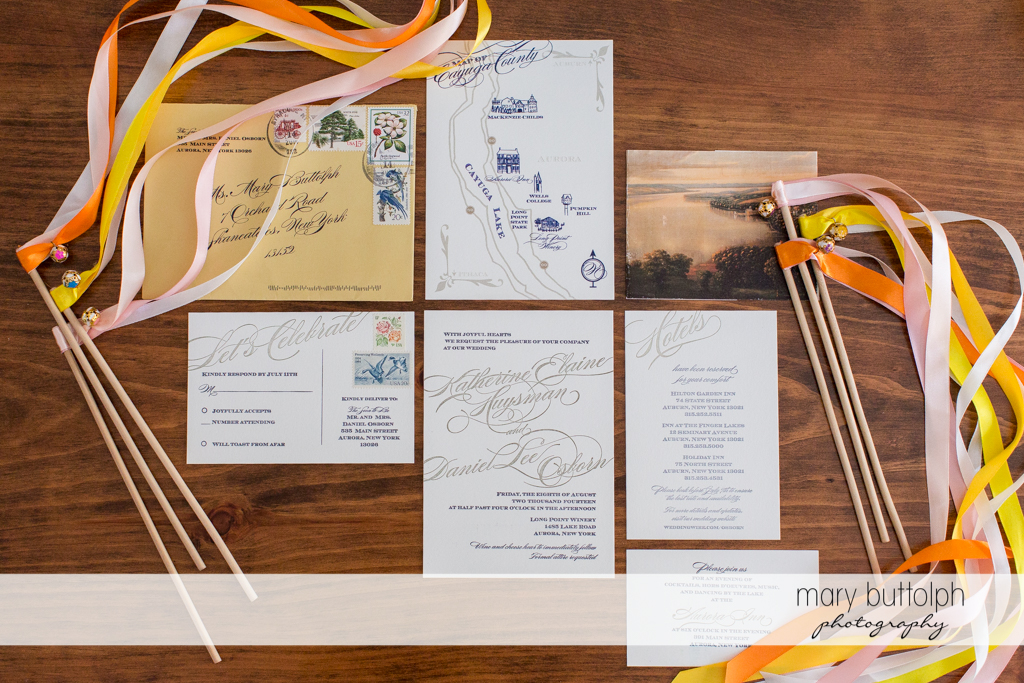 Wedding program announcing the big day at the Inns of Aurora Wedding