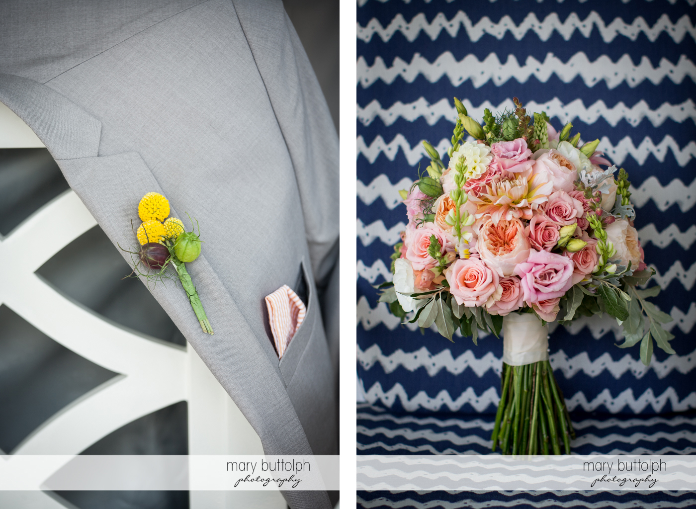 Close up shot of the groom's boutonniere and a bouquet at the Inns of Aurora Wedding