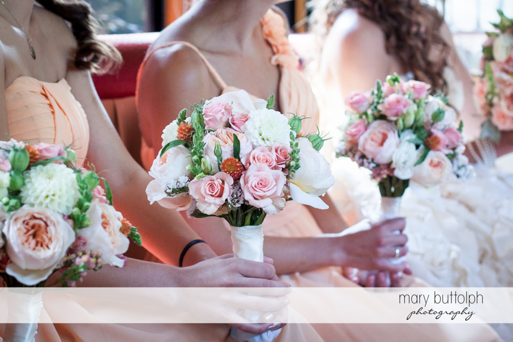 Close up shot of the bridesmaids' bouquets at the Inns of Aurora Wedding