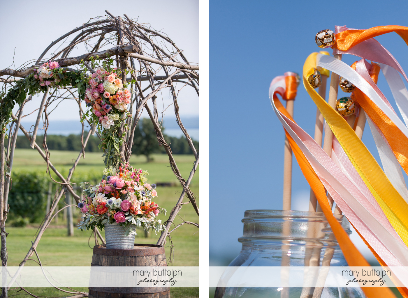 Colorful flowers and ribbons with bells at the Inns of Aurora Wedding