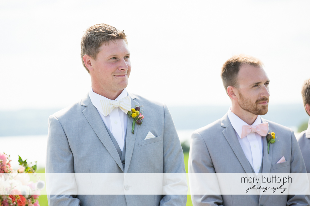 Groom and groomsmen wait for the bride at the Inns of Aurora Wedding