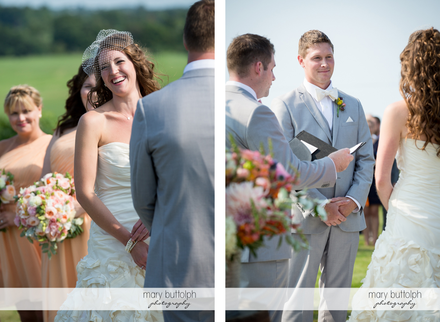 Happy bride and the smiling groom at the Inns of Aurora Wedding