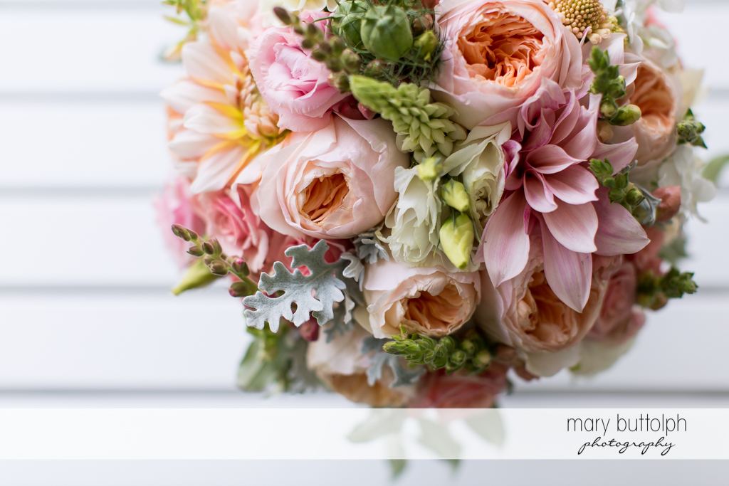 A bunch of flowers at the Inns of Aurora Wedding