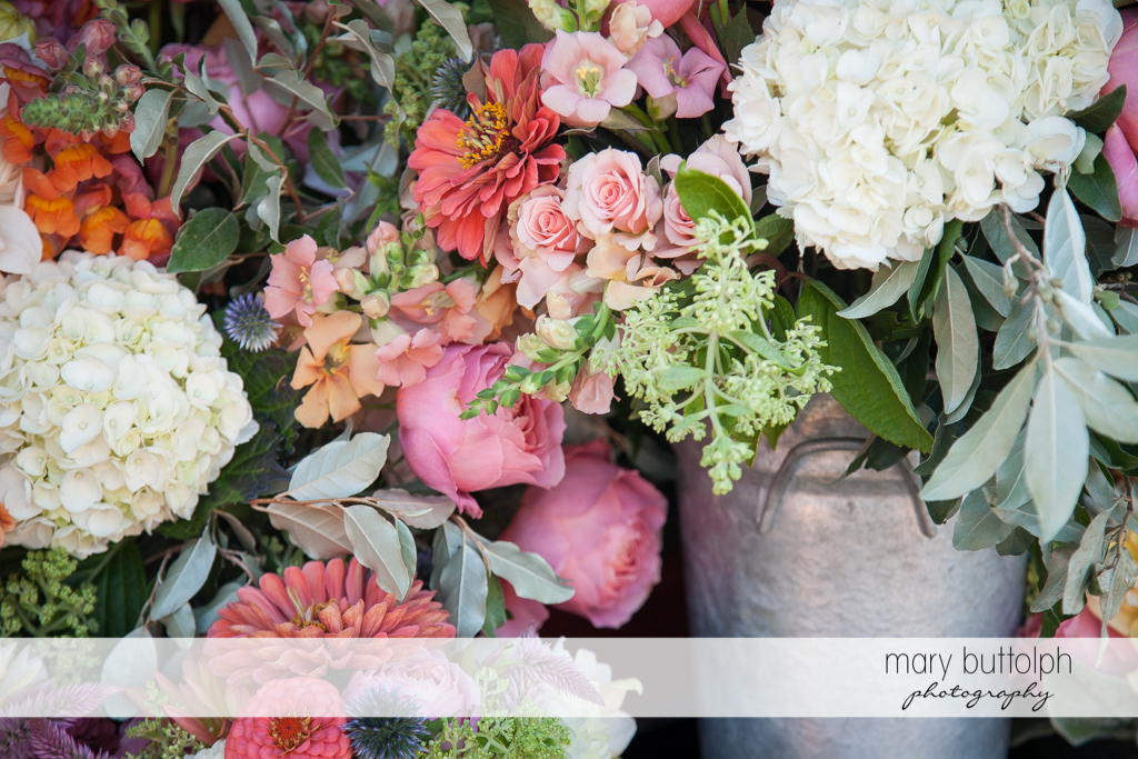Close up shot of flowers at the Inns of Aurora Wedding