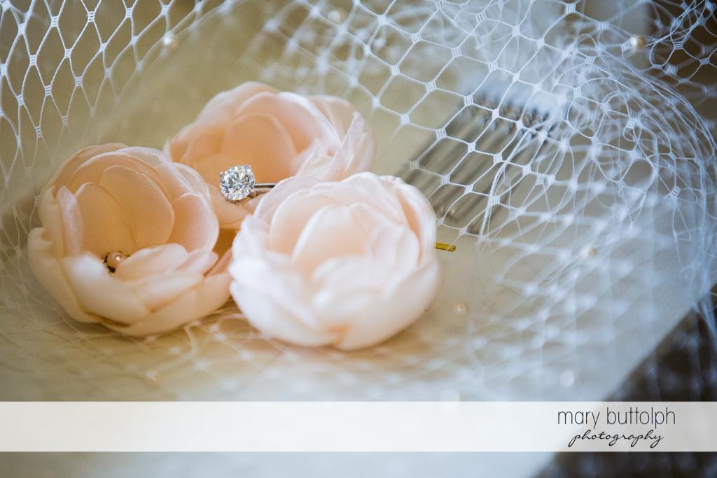 Bride's beautiful wedding veil at the Inns of Aurora Wedding