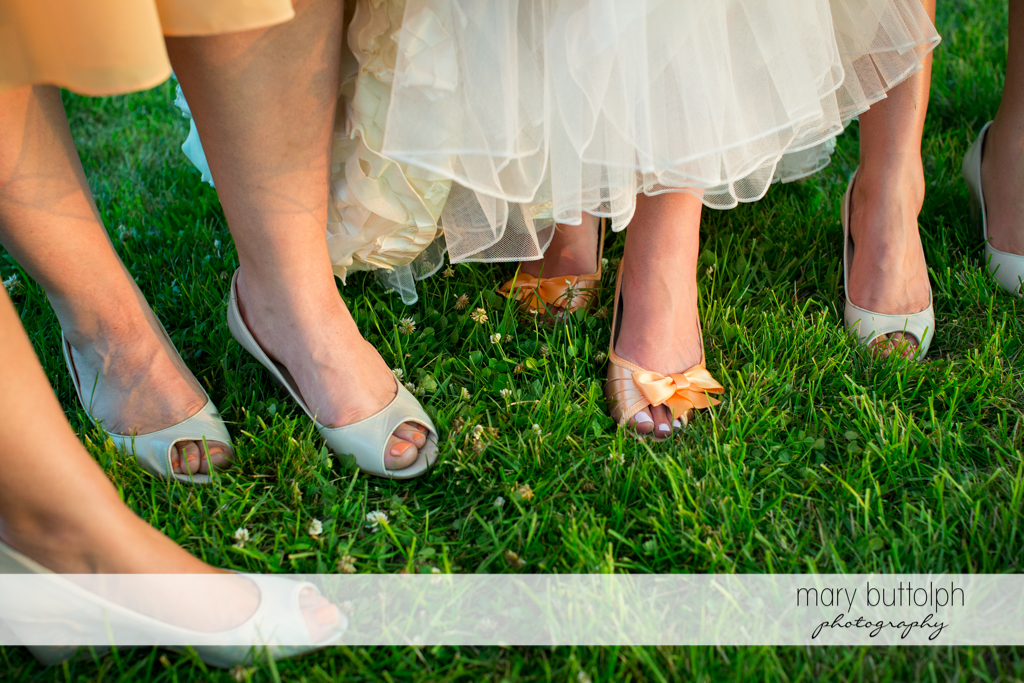 Bridesmaids' wedding shoes at the Inns of Aurora Wedding