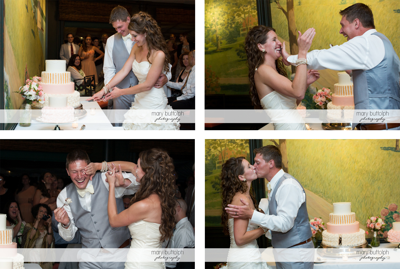 Couple clown around while cutting the cake before kissing at the Inns of Aurora Wedding
