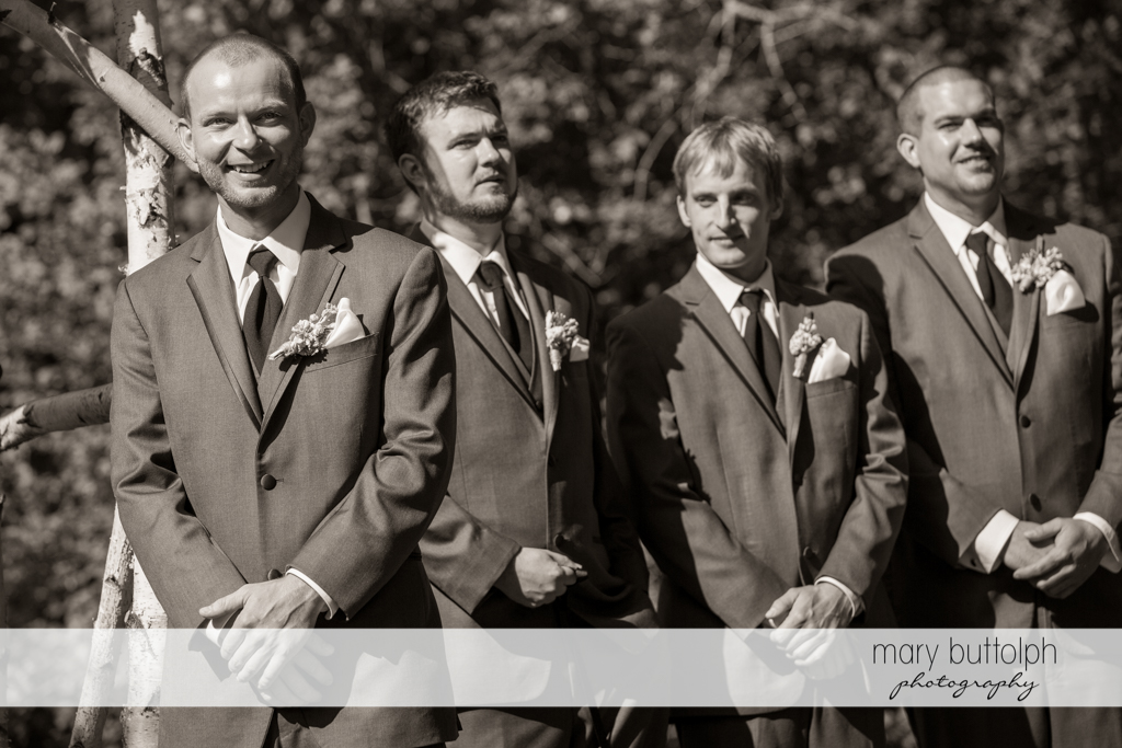 Groom and groomsmen wait for the bride at Arrowhead Lodge Wedding