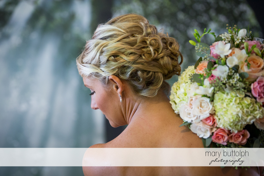 Bride's beautiful hair and bouquet at Arrowhead Lodge Wedding