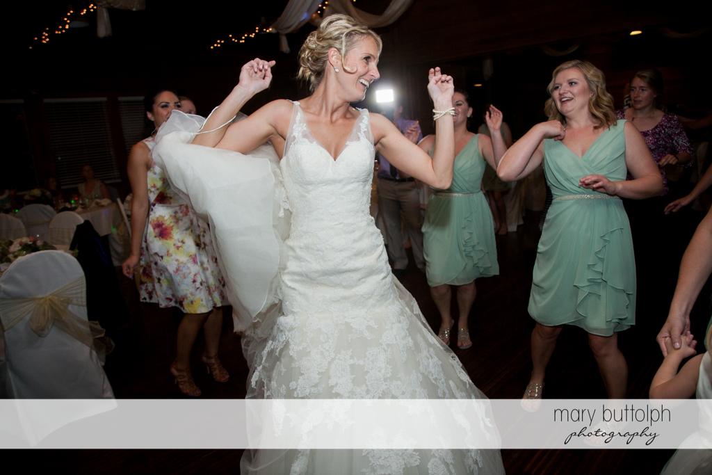 Bride dominates the dance floor at Arrowhead Lodge Wedding