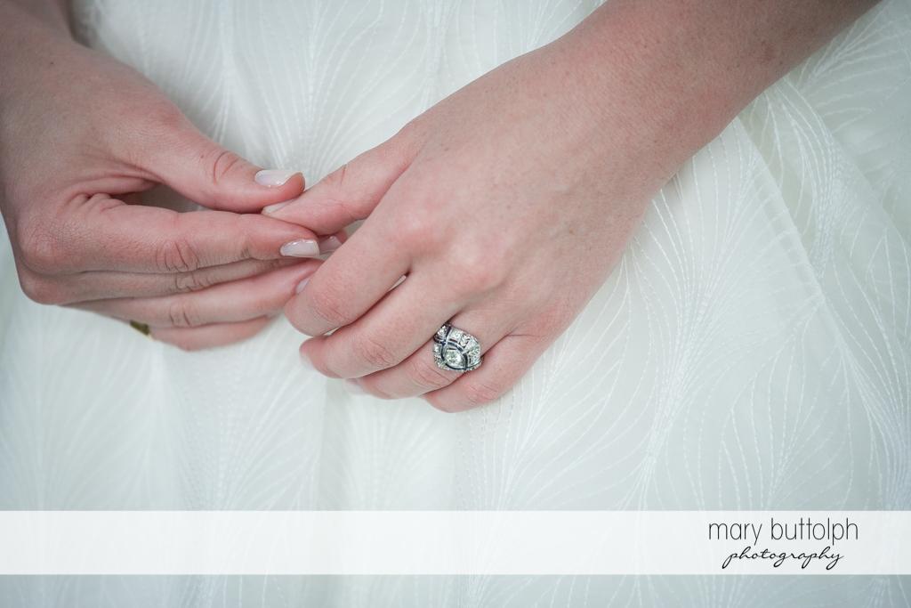 Close up shot of the bride's wedding ring at the Hamilton Inn Wedding