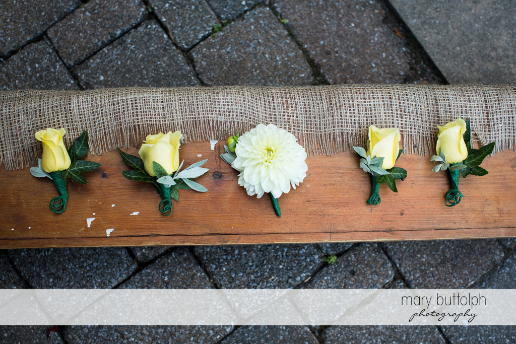Corsages to be used at the Hamilton Inn Wedding