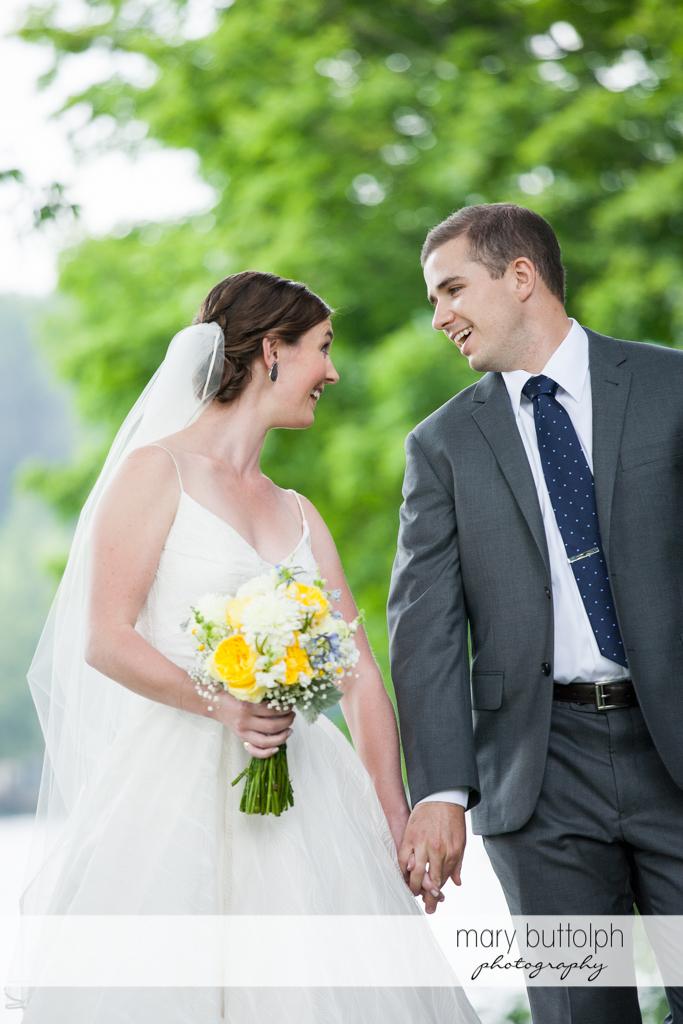 Couple share a happy moment at the Hamilton Inn Wedding