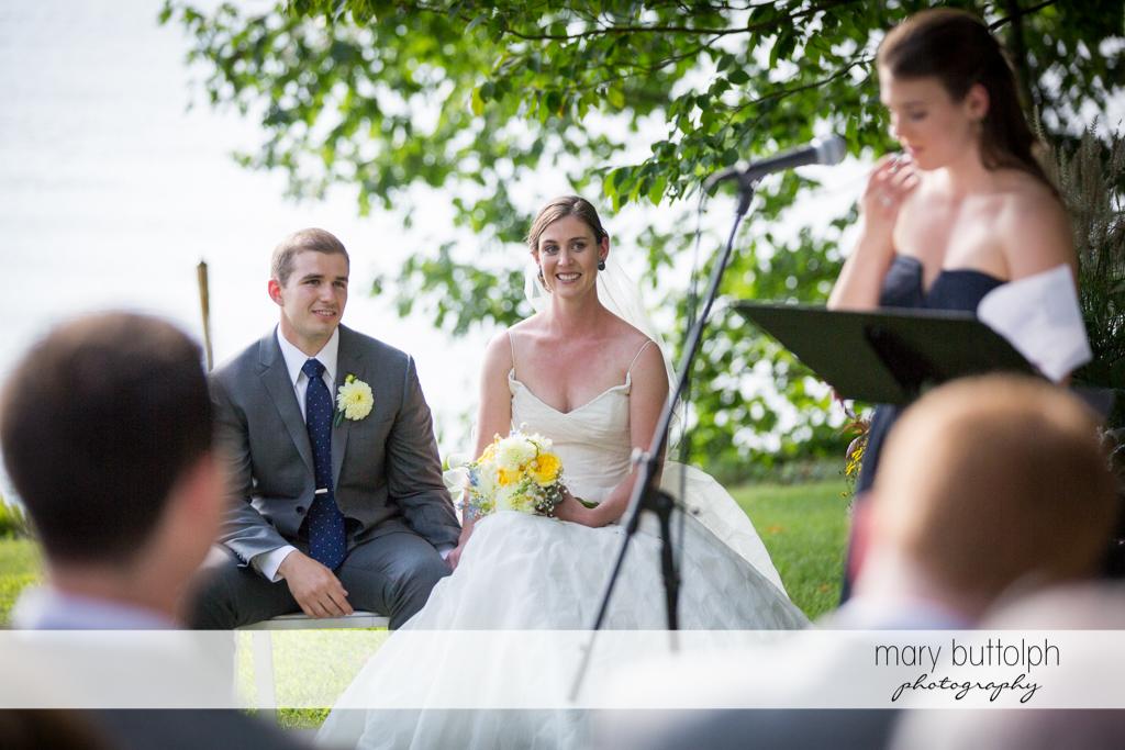 Couple in a happy mood in the garden at the Hamilton Inn Wedding