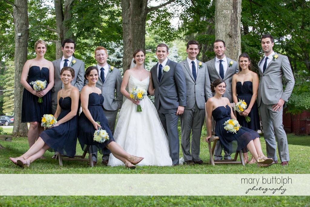 The wedding party in the garden at the Hamilton Inn Wedding