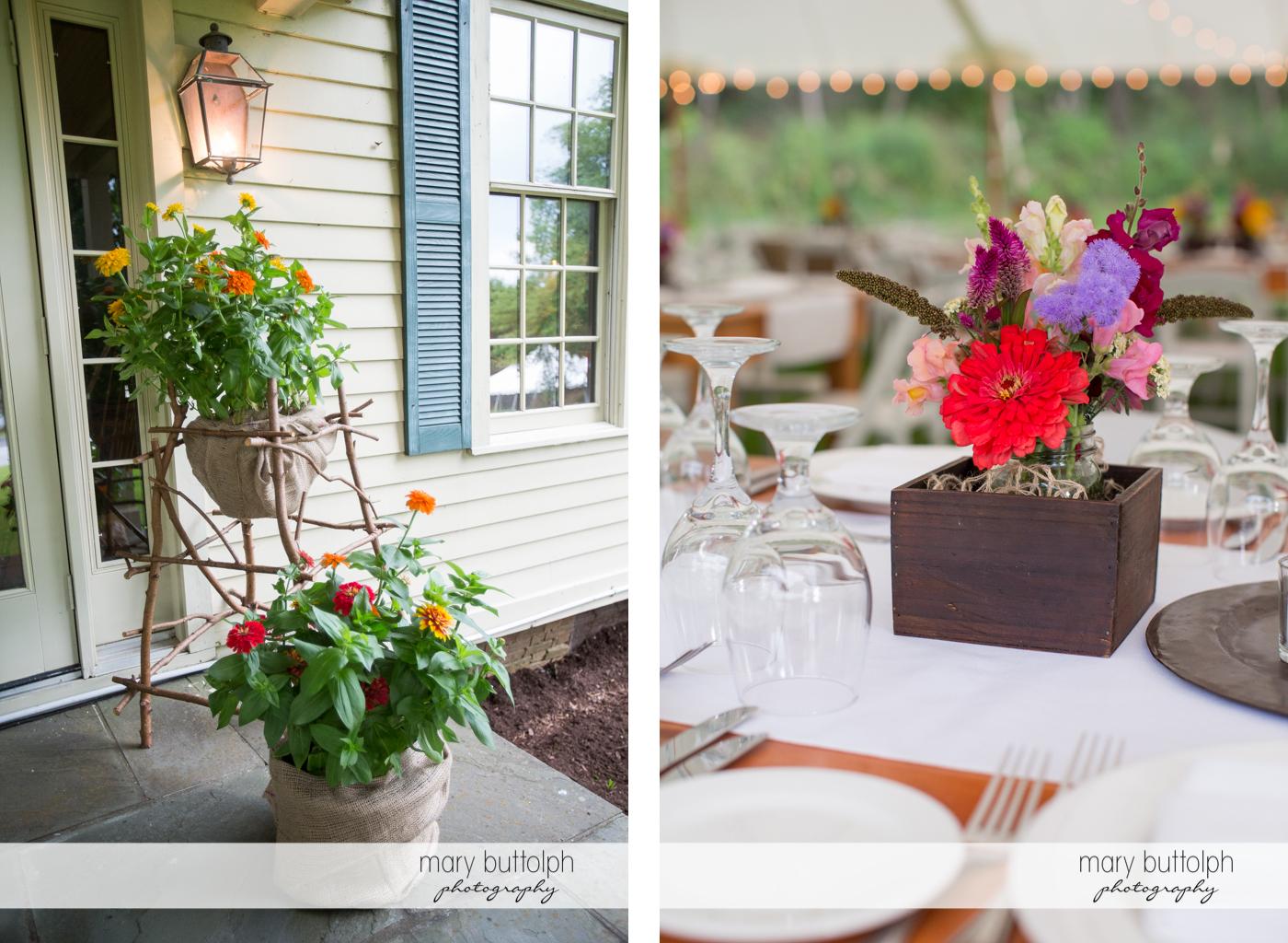 Beautiful flowers decorate the wedding venue at the Hamilton Inn Wedding