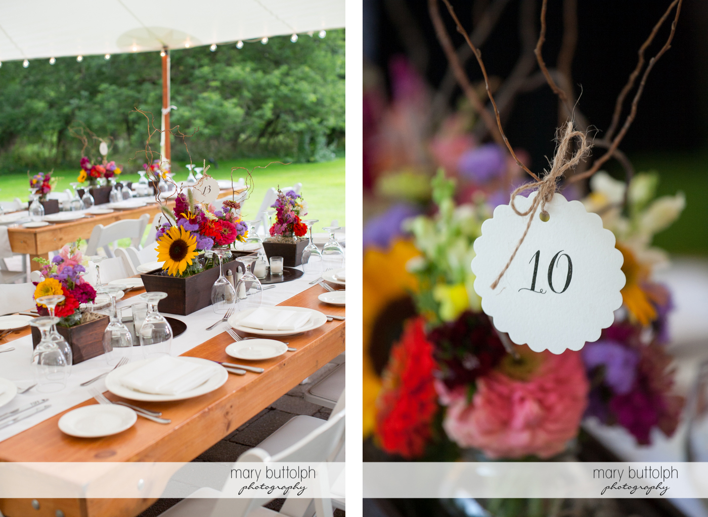 Close up shot of the dining area and flowers at the Hamilton Inn Wedding