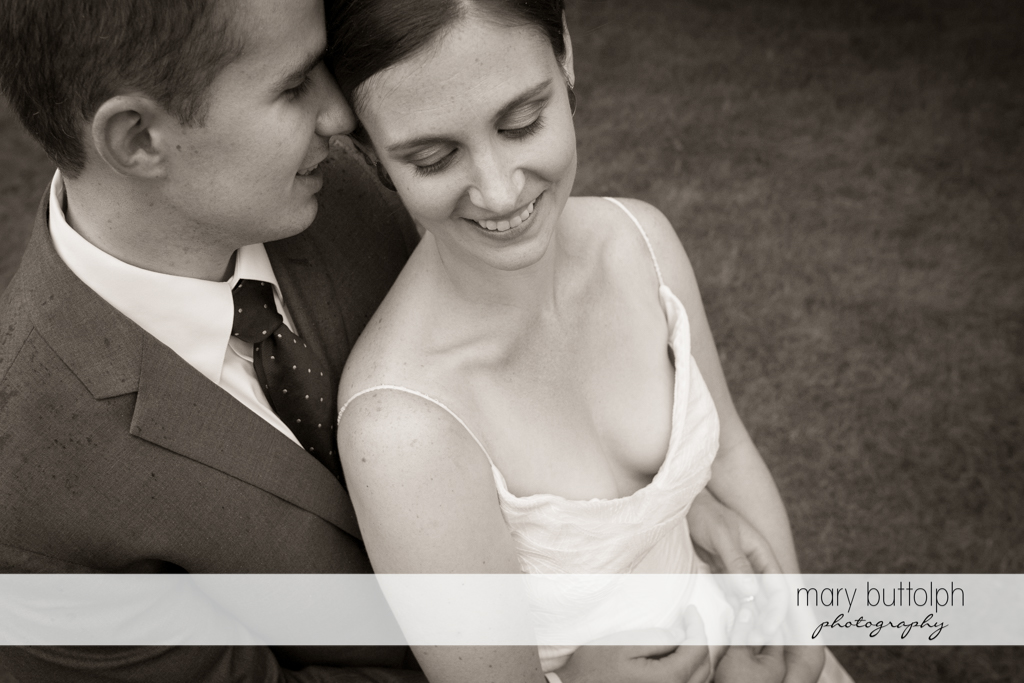 Couple share a romantic moment at the Hamilton Inn Wedding