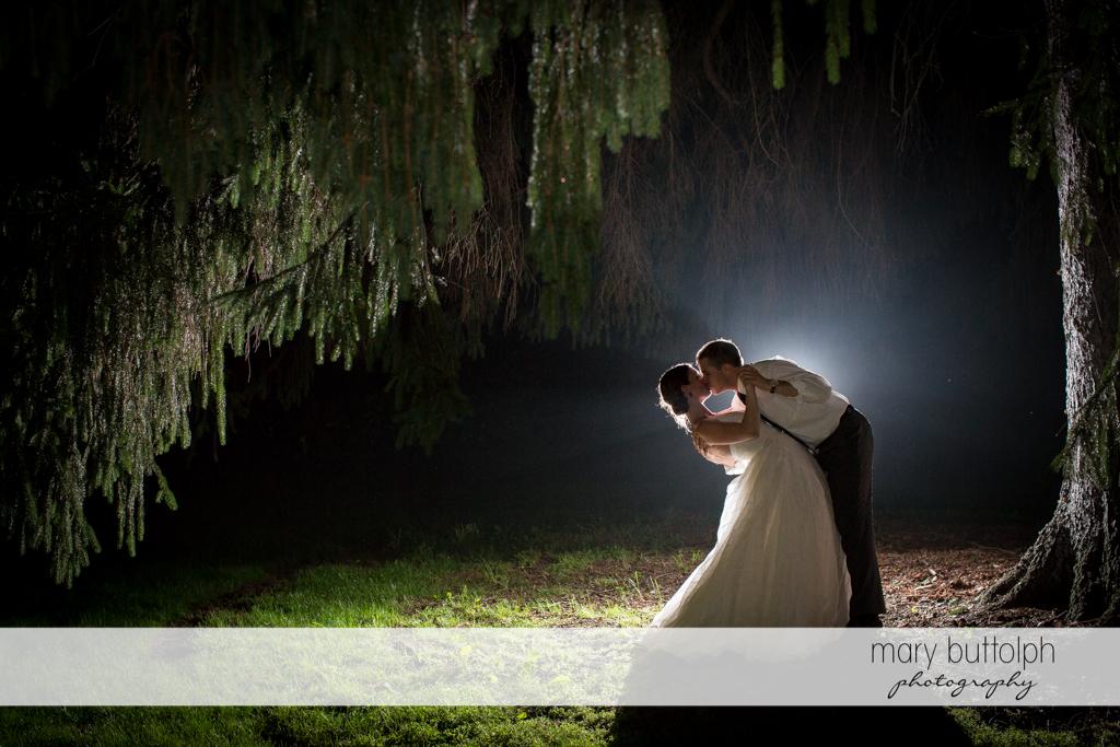 Kissing couple under a tree at the Hamilton Inn Wedding