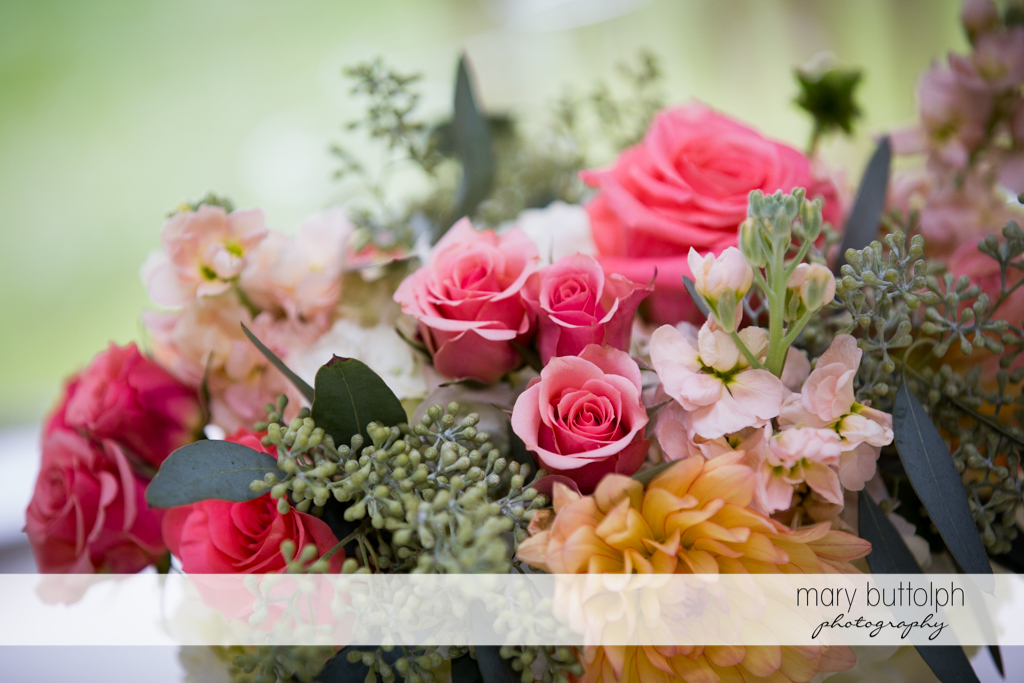Close up shot of a beautiful bouquet at the Inns of Aurora Wedding